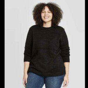 Ava & Viv 1X Sweater Black Crewneck Long Sleeve X